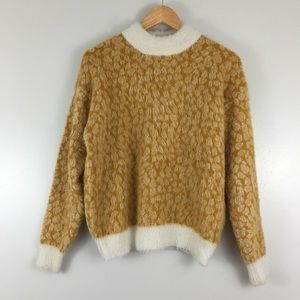 Listicle Fuzzy Cream Gold Animal Print Sweater S